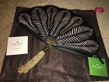 NWT Kate Spade New York Fan Clutch Dress the Part Black Leather Handbag Dust bag