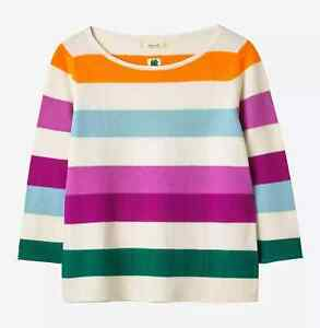 White Stuff Marigold Stripe Jumper, Orange/Multi Size 12 RRP £49.95 Hardly Worn