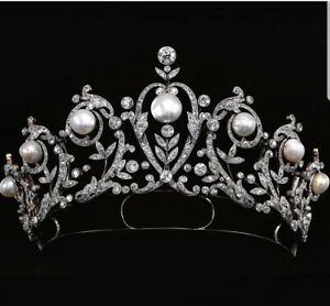 Vintage Style Handmade Tiara 925 Sterling Silver High Pearl Solid Head Jewelry