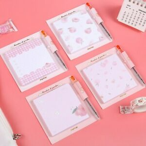 """Peach Bunny with Pen"" Pack of 4 Cute Sticky Notes Stickers Adhesive Memo Pads"