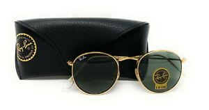 Ray Ban Sunglasses RB3447 50/21 Round Metlal Green Classic Lens Gold Frame