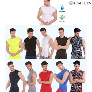 ARMEDES Mens Skin Tight Compression Baselayer Activewear Sleeveless Shirt PMR02