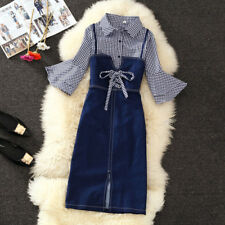 Women Slim Overalls Bib Denim Dress + long Sleeve shirt Casual Jeans dress Skirt