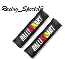 Ralliart Carbon Fiber Leather Seat Belt Cover Shoulder Pads X2 MITSUBISHI EVO