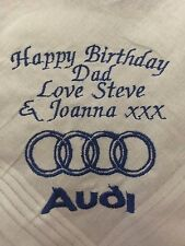 Personalised Embroidered Handkerchief Birthday Dad Brother Grandad Audi TT