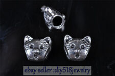10pcs 5mm Charm Tibet Silver 3D Cat spacer bead Diy Jewelry making Bracelet 7605