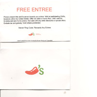 two FREE ENTREE BUSINESS CARD  Chili's CERTIFICATE Cards