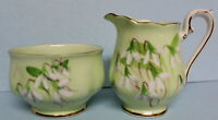 Royal Albert Vintage Laurentian Snowdrop Cream and Sugar Bowl Set EUC