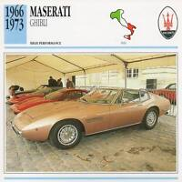 1966-1973 MASERATI GHIBLI Classic Car Photo/Info Maxi Card