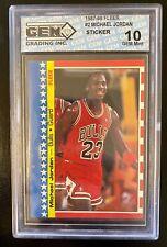 1987-88 Fleer Sticker #2 Michael Jordan 2nd Year Card GEM Mint 10