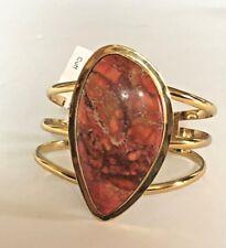 Charles Albert orange jasper 3 band cuff bracelet with Alchemia gold