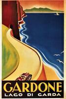 Gardone Lago di Garda Vintage Travel Art Print Mural Poster 36x54 inch