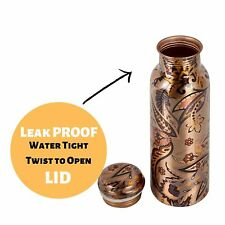 Pure Copper Water Bottle Printed Ayurveda Benefit Drinkware 32 Oz Vessel Flask