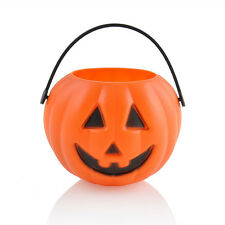1PC Mini Plastic Pumpkin Buckets Pouch Holder Halloween Party Props Decorations