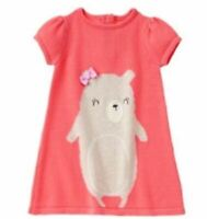 Gymboree Coral Bear Sweater Dress Baby Girls 6-12 months NEW with tags