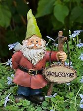Miniature Dollhouse Fairy Garden ~ Welcome Gnome Pick w Sign & Bird ~ New