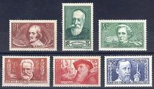 France 1936 20c+10c-1.5fr+50c Intellectuals Sc B48-B53 SG 563-577 VLMM Cat $36++
