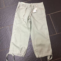 NEW LOOK LINEN MIX GREEN CROP TROUSERS LONG SHORTS SIZE 10 BRAND NEW