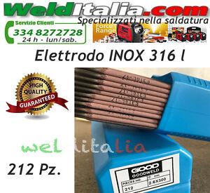 ELETTRODI ELETTRODO ACCIAIO INOX E 316 L DIAM. 2,5 X 300 MM. PACCO DA 212 PZ.