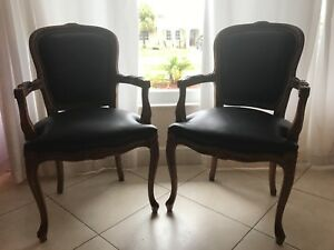 Vintage Chateau D'Ax Spa imported Italian Leather Ornate Carved Arm Chair (2)