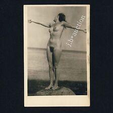 Nudism NUDE WOMAN AT THE SEA / NACKTE FRAU AM MEER FKK * Vintage 50s Photo PC