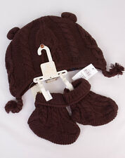 Baby Gap Knit Hat & Booties Set in Brown for Boy/Girl (6-12 months) NWT