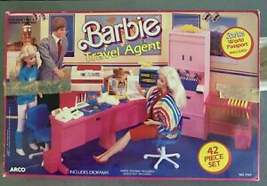 1986 Barbie Travel Agent Set #7747 Complete And With Original Box