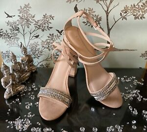 Carvela GITA Nude Suedette Open-toed  Strappy Jewelled Heels Size 7 (40)