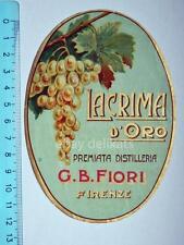 Vecchia etichetta old label vino wine grappa Lacrima d'oro Fiori Firenze
