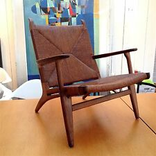 RARE Original 1950s Vintage HANS WEGNER CH25 Chair Rush Caning MCM Danish Modern