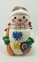 Snowman Cookie Jar Christmas Holiday Frosty Ceramic Quilted Stars