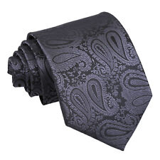 DQT Woven Floral Paisley Charcoal Grey Formal Wedding Mens Classic Tie