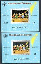 PARAGUAY - CHRISTMAS Mi # Bl 355 A + 355 B , MNH