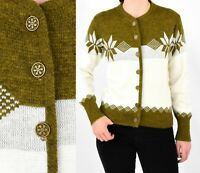60s Vintage Nordic Cardigan Sweater Womens M Puritan Ski Lift Olive Green