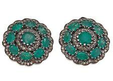 Meher's Champagne Diamond & Emerald Gemstone Black Rhodium Stud Earring Silver