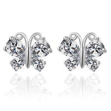 Women Butterfly Crystal Hoops Huggie Earrings Dangle CZ Stone Ear Studs Earrings