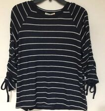 C&C California Women's Navy/White Stripe Ruched Tie Long Or 3/4 Sleeve , LG, New