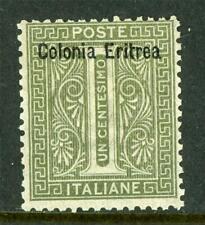 Italy 1928 Eritrea 1¢ Bronze Green SG # 1 Mint D808 ⭐⭐⭐⭐⭐⭐