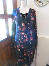 BNWT Joe brown blue floral long sleeve wrap dress size size 14 uk