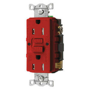 HUBBELL WIRING DEVICE-KELLEMS GFTWRST15R GFCI Receptacle,15A,125VAC,5-15R,Red