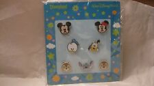 Disney 7 Pin Baby Face Character Set 2010 Mickey Minnie Stitch Donald Pluto dp52