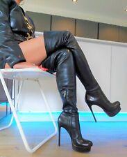 Gianmarco Lorenzi High Heel Stiletto Leder Overknee Stiefel Boots 38 Vero Cuoio