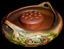 1920s Roseville Pottery IMPERIAL 1 PATTERN Flower Bowl w/Flower Frog