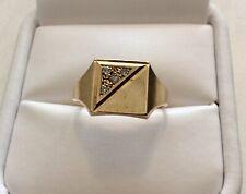 Good Vintage Solid 9CT Gold Full Hallmarked Diamond Signet Ring - P