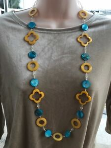 Handmade Necklace of Turquoise Blue and Yellow MOP Shell and Yellow Glass Beads