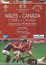 WALES v CANADA (Rugby Union International 21.8.1999) Programme