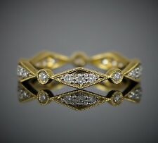 18k Oro Amarillo .28ct Diamante Redondo Apilable Eternity Alianza 6