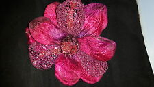 Large Mother of the Bride Corsage in Deep Pink Velvet with Beaded Detail & Pin
