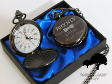 Personalised wedding gift Black Pocket Watch groom/bride party favours BPW7