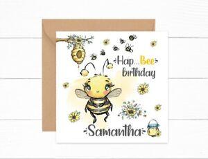Personalised Girls Birthday Card Queen Bee Daughter Friend Auntie Sister Bees